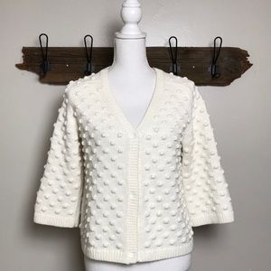 Lands End Cardigan Popcorn Stitch Hidden Snap EUC